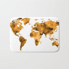 World Map Burnt Orange Brown Vintage Bath Mat