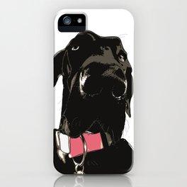 Great Dane Dog (black-pink collar) iPhone Case