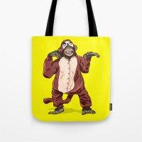 onesie Tote Bags featuring Monkey Onesie by Alex Terry