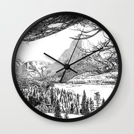 Montana Landscape Black and White Drawing Wall Clock
