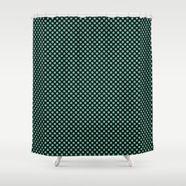 Black and Spearmint Polka Dots Shower Curtain