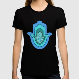 Humes hand in blue, Hamsa T-shirt