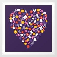 Ditsy Heart Art Print