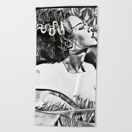 The Bride in Pen and Ink Beach Towel