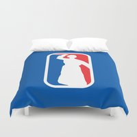 league Duvet Covers featuring Psycho League by dutyfreak