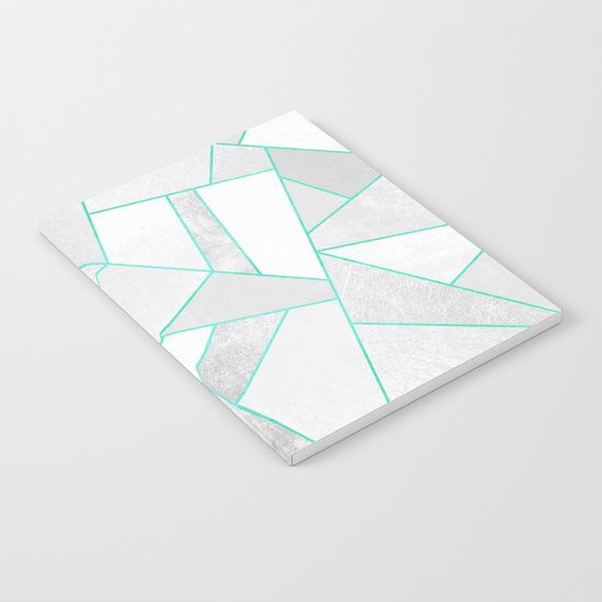 White Stone with Turquoise Lines Notebook