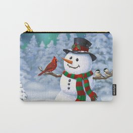 Cute Happy Christmas Snowman with Birds Carry-All Pouch