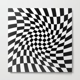 Black and White Twisted Checkerboard – Warped Pattern Decor Metal Print