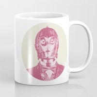 c3po Mugs featuring C3PO by NJ-Illustrations