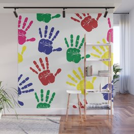 hand prints Wall Mural