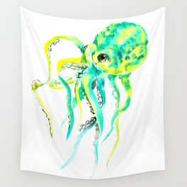 Octopus, yellow, turquoise green octopus lover art Wall Tapestry