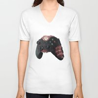 xbox V-neck T-shirts featuring Zombie Xbox One Controller by Peyeyo