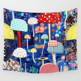 Blue Mushrooms - Zu hause Marine blue Abstract Art Wall Tapestry
