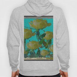 SHABBY CHIC TURQUOISE ANTIQUE IVORY YELLOW ROSE GARDEN Hoody