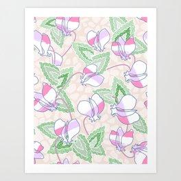 Cyclamen Spring Flowers Seamless Print Art Print