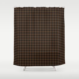 Mini Black and Brown Coffee Cowboy Buffalo Check Shower Curtain