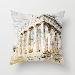 Acropolis, Athens Greece Throw Pillow