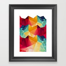 geometric color mountains Framed Art Print