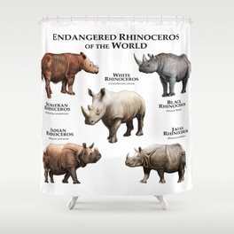 Endangered Rhinoceros of the World Shower Curtain