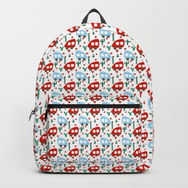 Camper Vans in Red and Blue with Green Cactus and Red Flowers Backpack