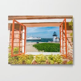 Brant Point Lighthouse, beach and Nantucket Ferry Metal Print