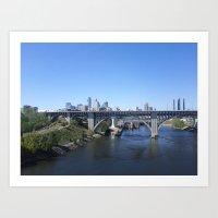 minneapolis Art Prints featuring Minneapolis by SaltyDesigns