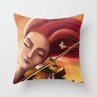 violin Throw Pillows featuring Violin by Negin Armon