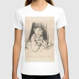 """Honoré Daumier """"Man in bed with love letter: Elle m'aime toujours - She loves me always"""" T-shirt"""