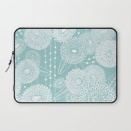 Asters rain in mint green color Laptop Sleeve