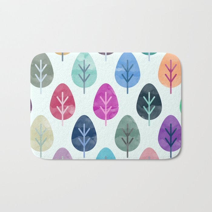 Watercolor Forest Pattern Bath Mat