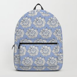 Background abstract white doodle-flowers, pattern, vector, texture design. Backpack