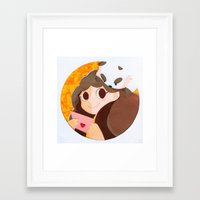 bee and puppycat Framed Art Prints featuring Bee & Puppycat by martinezmaca