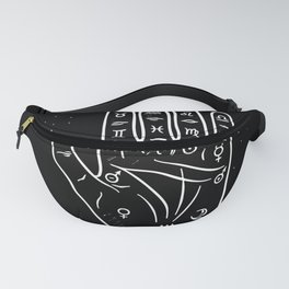 Drawn human hand with palmistry zodiac signs, vector illustration Fanny Pack