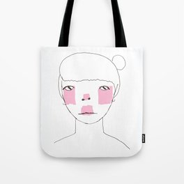 Line Drawing of Girl with Bun  Tote Bag