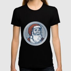 Santa Claus Father Christmas Vintage Etching SMALL Womens Fitted Tee Black