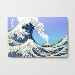 Great Wave Off Kanagawa Mount Fuji Eruption Gradient Blue Green Metal Print