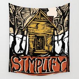 Simplify Cabin Woods Linocut Wall Tapestry