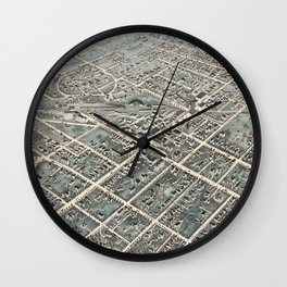 Vintage Pictorial Map of Pittsfield MA (1876) Wall Clock