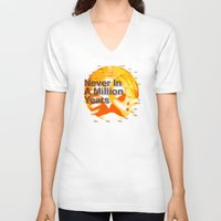 waldo V-neck T-shirts featuring Never In A Million Years < The NO Series (Orange) by Wayne Edson Bryan