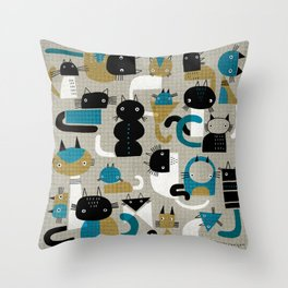 20 CAT PATTERN Throw Pillow