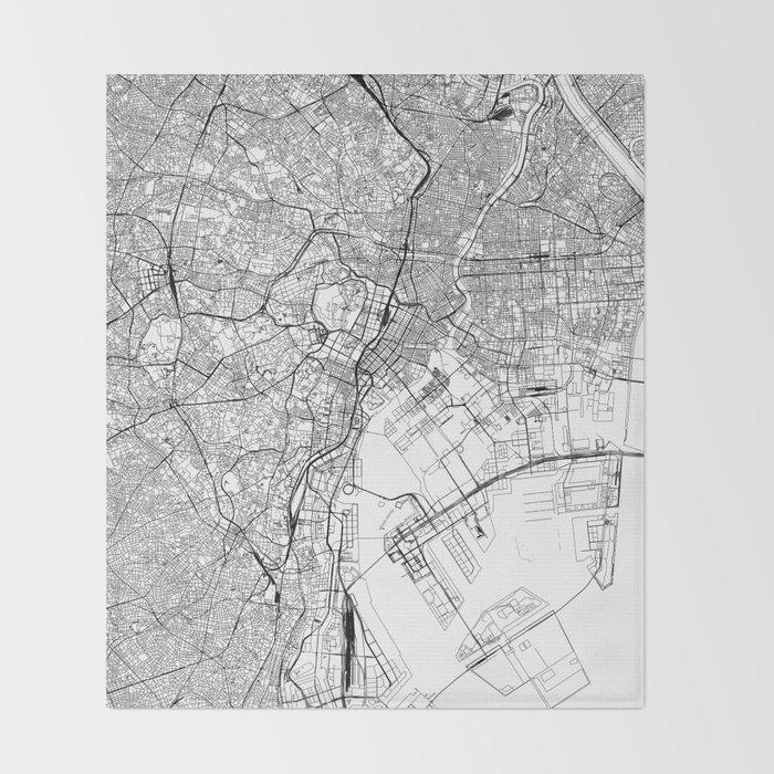 Tokyo White Map Throw Blanket