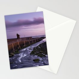 River through Lynmouth Harbour under pink dawn sky. North Devon, UK Stationery Cards