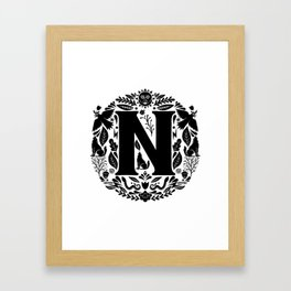 Letter N monogram wildwood Framed Art Print