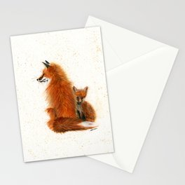 Fox Mama and Kit - animal watercolor painting of fox mother and baby Stationery Cards