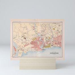 Vintage Singapore Map (1893) Mini Art Print