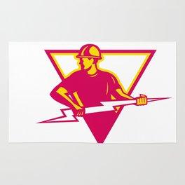 Power Lineman With Thunderbolt Triangle Rug