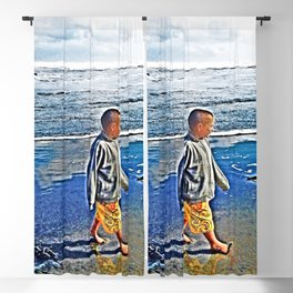 Stunning, gorgeous beach scene with cute little boy, enhanced and beautiful in New Zealand (West Auckland)  Blackout Curtain