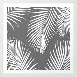Dark Gray Tropical Pattern Art Print
