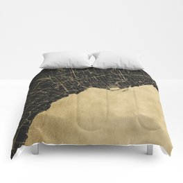 Toronto Gold and Black Street Map Comforters