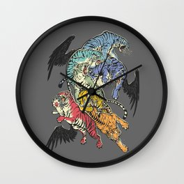 Seven Caged Tigers Wall Clock